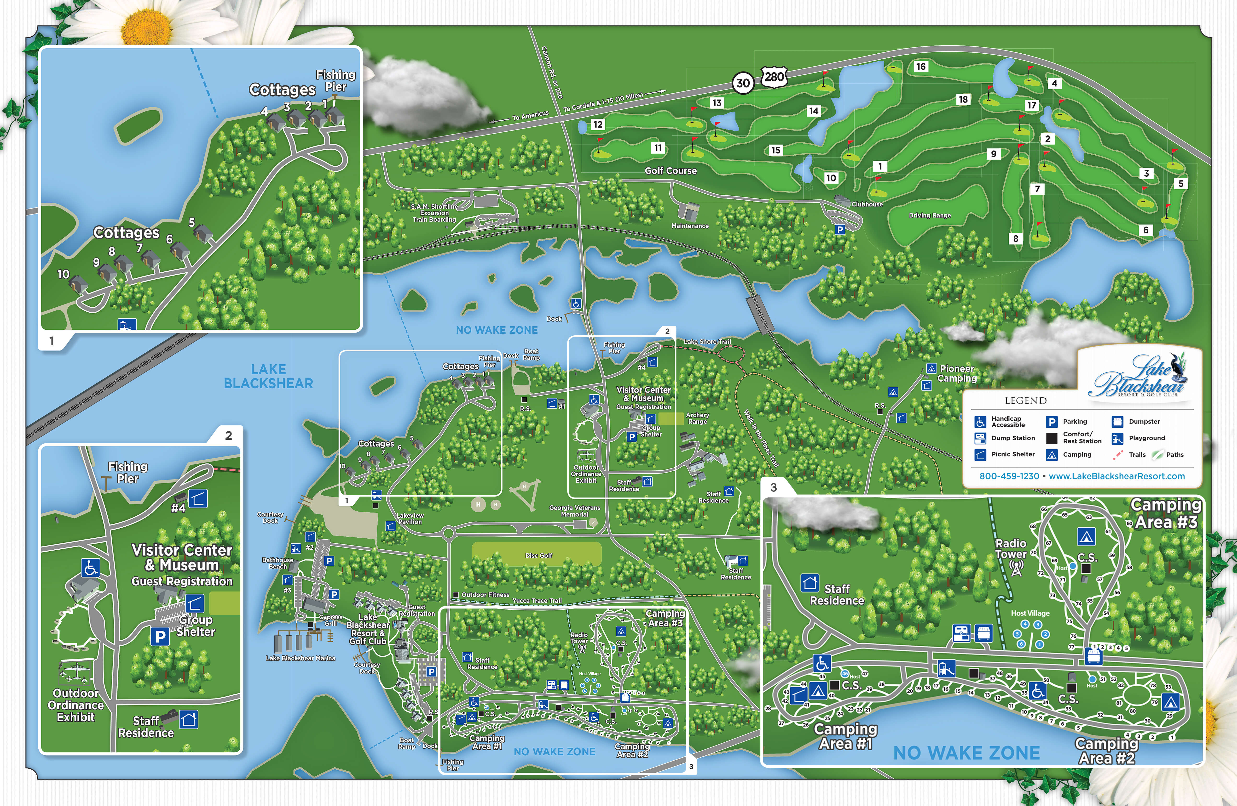 Park Map Lake Blackshear Resort Golf Club Cordele Ga